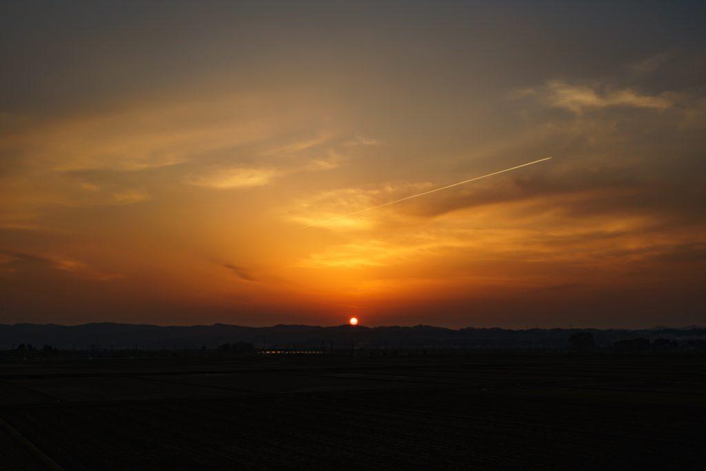 長岡市の夕日