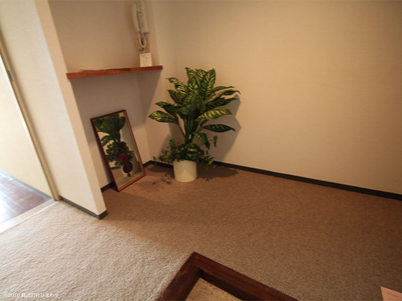 玄関前にスペースが有ります。
