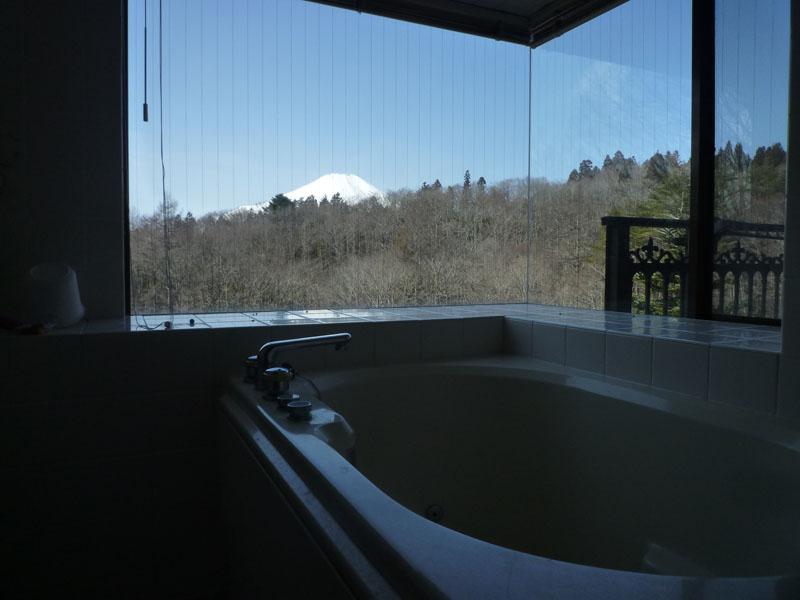 窓付きの浴室 富士山を望みます
